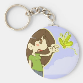 Butterfly Girl Basic Round Button Key Ring