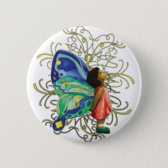 Butterfly Girl Calligraphy Button