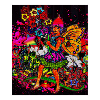 Butterfly Girl Floral Collage Poster