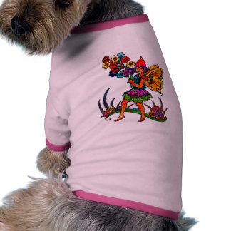 Butterfly Girl Floral Ringer Dog Shirt
