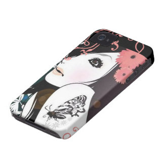 Butterfly Girl Floral Swirls iPhone 4 Covers
