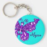 Butterfly girls aqua purple name keychain