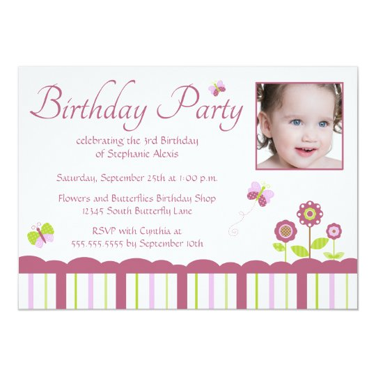 Butterfly girl's photo birthday party invitation