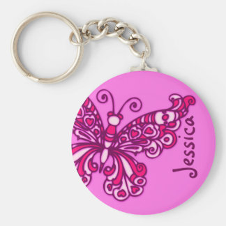 Butterfly girls pink name keychain