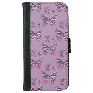 Butterfly girly purple pink silver iPhone 6 wallet case
