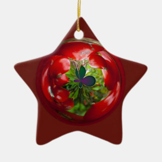 Butterfly Globe with red berries. Christmas Ornament