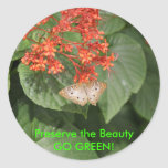 Butterfly - GO GREEN! Classic Round Sticker