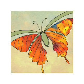 Butterfly Gold Olive Green Decor Art 3 Stretched Canvas Print