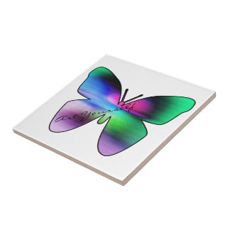 Butterfly Graffiti Small Square Tile