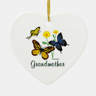 Butterfly Grandmother Ceramic Heart Decoration