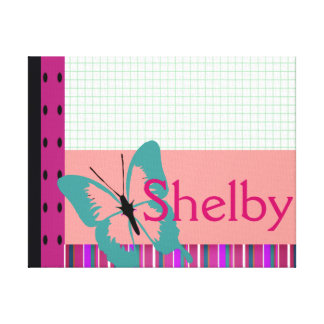 Butterfly & Graph Paper Name Personalize Canvas Prints