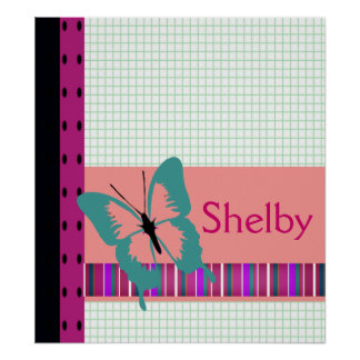 Butterfly & Graph Paper Name Personalize Poster