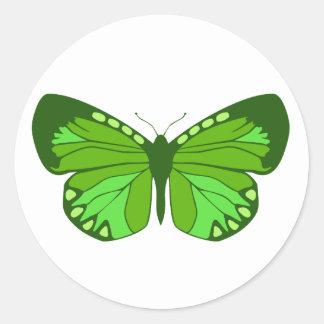 Butterfly Greens Round Sticker