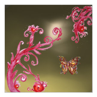 BUTTERFLY GREY AGATE bright pink,red Invitation