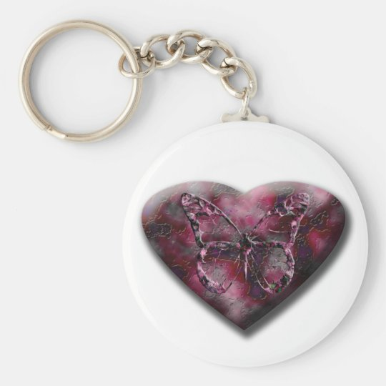 Butterfly Heart Basic Round Button Key Ring