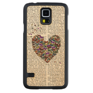 Butterfly Heart Carved Maple Galaxy S5 Case