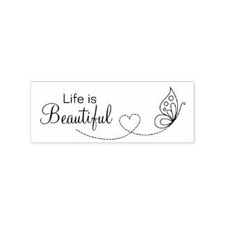 Butterfly Heart - Life is Beautiful Rubber Stamp