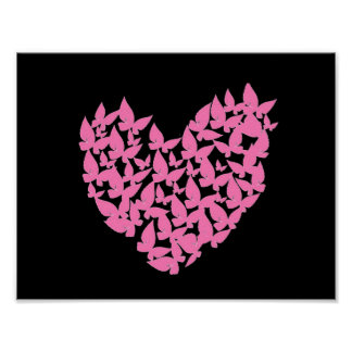Butterfly heart pink love watercolor art poster
