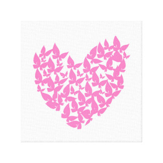 Butterfly heart pink love watercolor canvas gallery wrap canvas