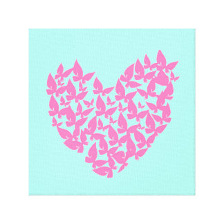 Butterfly heart pink love watercolor canvas stretched canvas prints