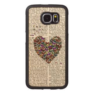 Butterfly Heart Wood Phone Case