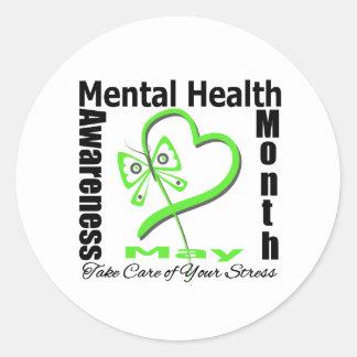 Butterfly Heartt - Mental Health Awareness Month Round Sticker