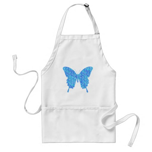 Butterfly image, abstract pattern, shades of blue apron