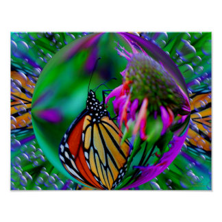 Butterfly In A Bubble Abstract Nature Print
