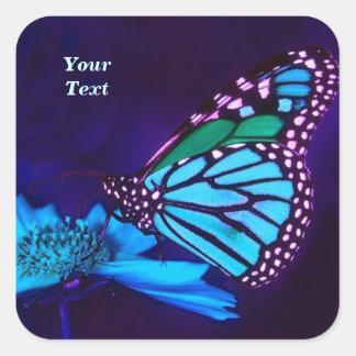 Butterfly in Blue Light Square Sticker