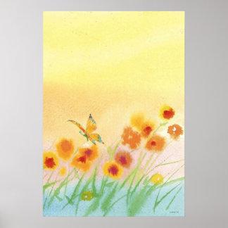 butterfly in field  Watercolor Poster