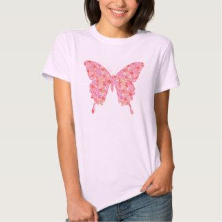 Butterfly in flower pattern - pink, orange tees