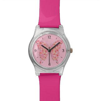 Butterfly in flower pattern - pink, orange watch