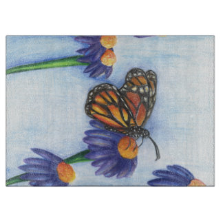 Butterfly in Flowers cutting board