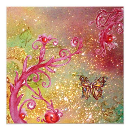 BUTTERFLY IN GOLD SPARKLES 2 , Bırthday Party 1 13 Cm X 13 Cm Square Invitation Card