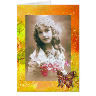 BUTTERFLY IN  GOLD SPARKLES  Photo Template Greeting Card