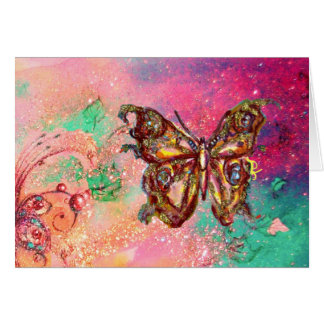 BUTTERFLY IN  GOLD SPARKLES ,Pink Green Teal Greeting Card
