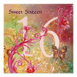 BUTTERFLY IN GOLD SPARKLES SWEET16 Birthday Party 13 Cm X 13 Cm Square Invitation Card