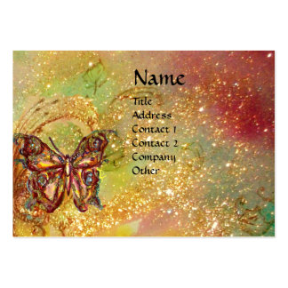BUTTERFLY IN GOLD YELLOW GREEN RED BROWN SPARKLES BUSINESS CARD TEMPLATE