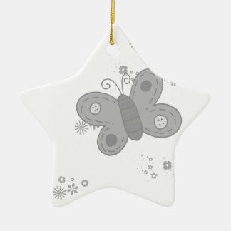 Butterfly in grey ceramic star decoration
