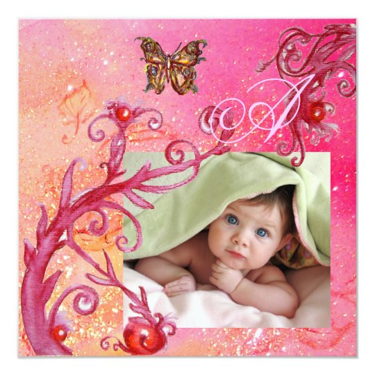 BUTTERFLY IN PINK, BABY GIRL SHOWER Photo Template