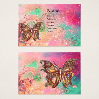 BUTTERFLY IN PINK FUCHSIA GOLD SPARKLES BUSINESS CARD