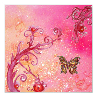 BUTTERFLY IN PINK SPARKLES 2 Elegant Wedding Party 13 Cm X 13 Cm Square Invitation Card