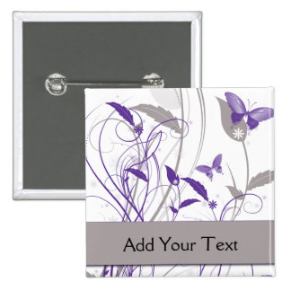 Butterfly in Purple and Grey 15 Cm Square Badge