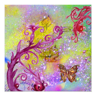 BUTTERFLY IN PURPLE SPARKLES Elegant Wedding Party Card
