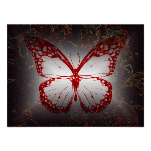 BUTTERFLY IN RED POSTER