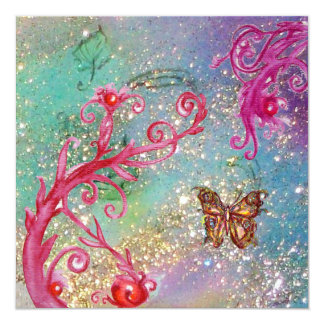 BUTTERFLY IN SPARKLES 2 Elegant Blue Wedding Party 13 Cm X 13 Cm Square Invitation Card