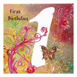 BUTTERFLY IN SPARKLES 2 ,  First Birthday Party 1 Personalised Announcements