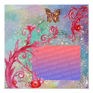 BUTTERFLY IN SPARKLES Blue Wedding Photo Template Card