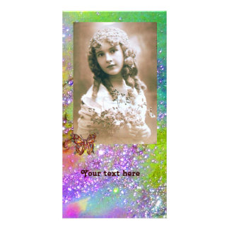 BUTTERFLY IN SPARKLES bright purple green blue Photo Card