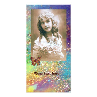 BUTTERFLY IN SPARKLES bright purple pink blue gold Custom Photo Card